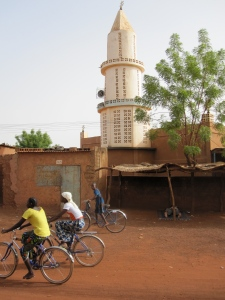 A mosque on the main street in Ouahigouya, Burkina Faso with a speaker to broadcast the call of the Muezzin