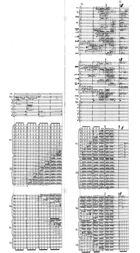 Excerpt from Susman's Pentateuch showing divisi polyphonic and polyrhythmic wind, brass, percussion and string sections with three choir groups of tenors and basses in 5ths below the soprano lead
